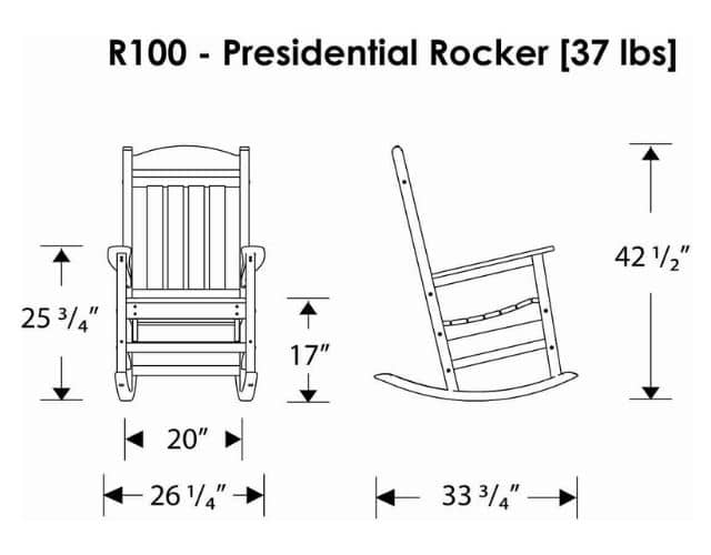 Dimension of POLYWOOD R100TA Presidential Rocking Chair, Tangerine construction