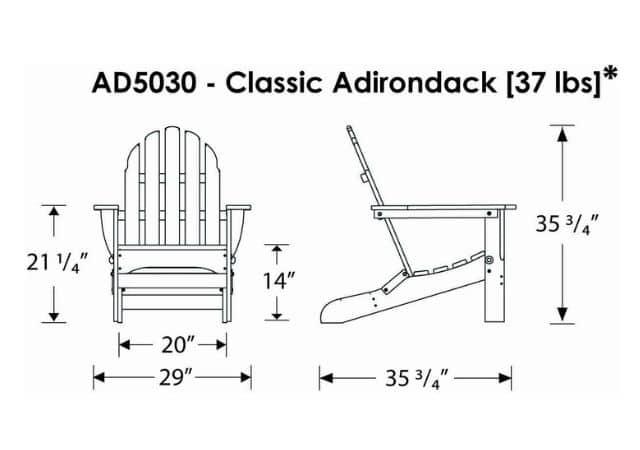 POLYWOOD AD5030AR Classic Folding Adirondack Chair,Dimension