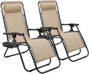 Devoko Patio Zero Gravity Chair Outdoor Folding Adjustable Reclining Chairs