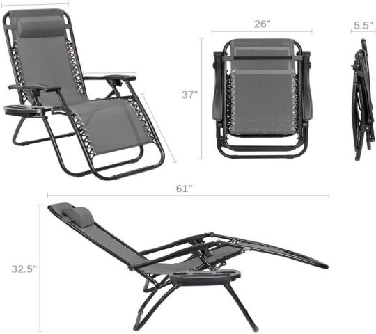 Furmax Zero Gravity Chair Patio Lounge Chair