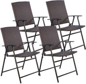 Tangkula 4 PCS Folding Patio Chair Set