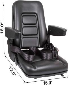 Full Suspension Adjustable Seat for Tractor, Excavator, Forklift, Skid Loader